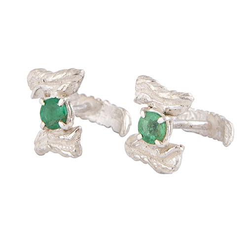 gemelli in argento e smeraldi