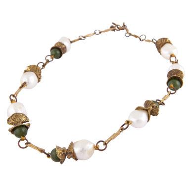 collana in bronzo con perle e giade