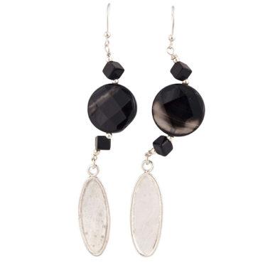 orecchini in argento con agata nera