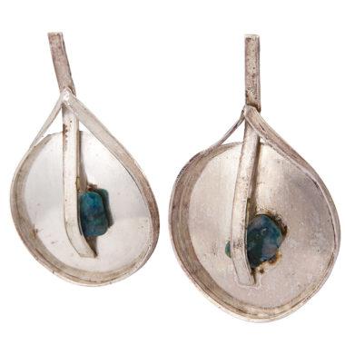 orecchini in argento a disco e malachite