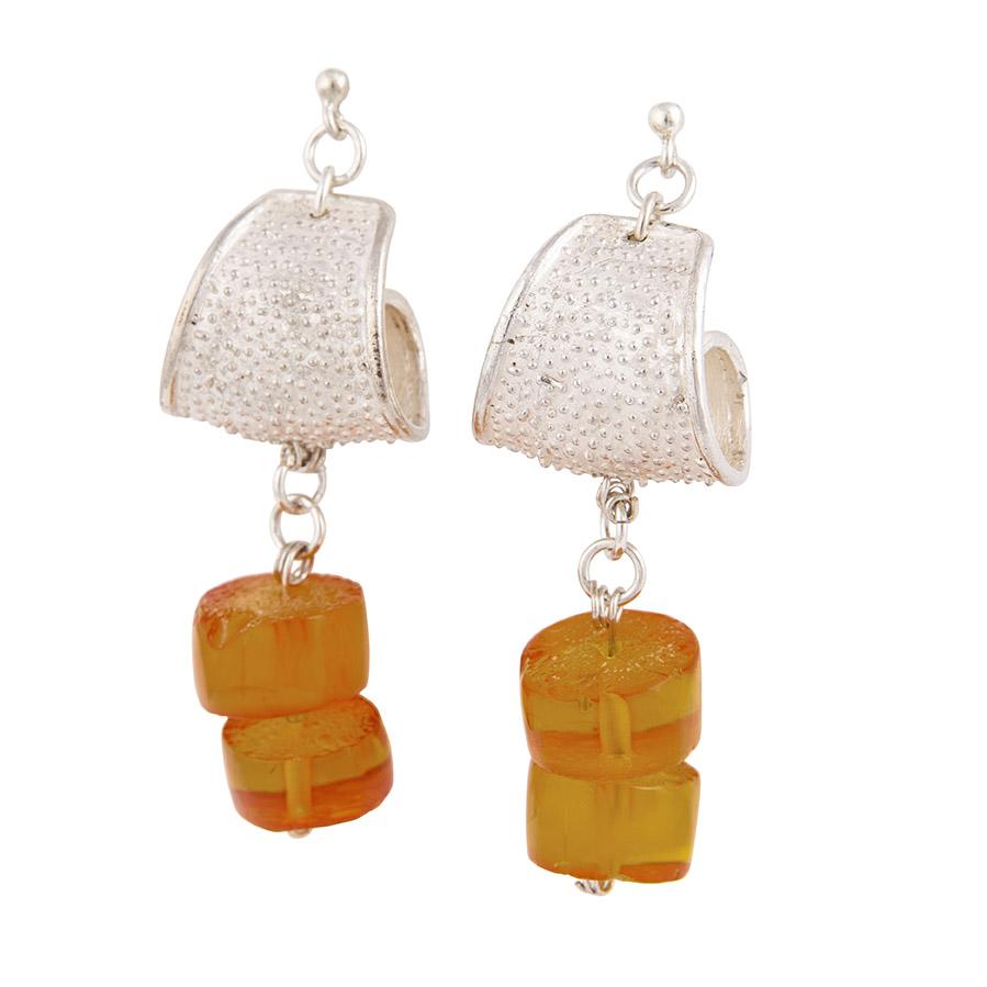orecchini in argento e ambra