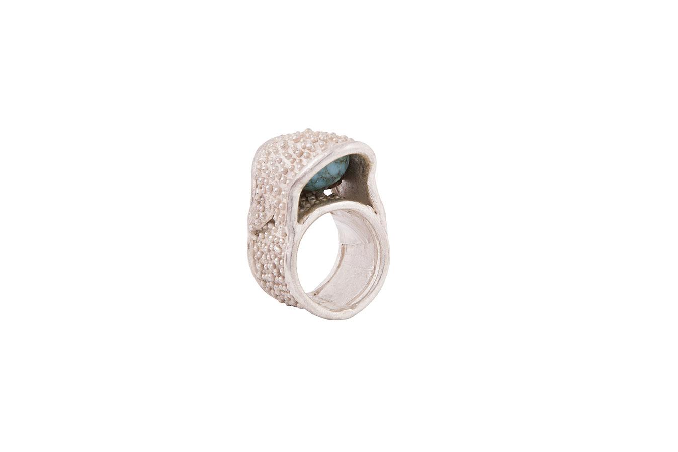 anello argento puntinato con malachite