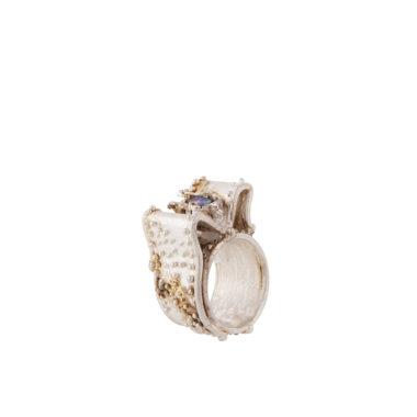 anello in argento con perla grigia